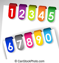 Colorful numbered paper tags