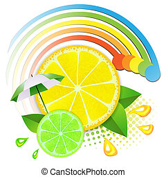 Slices lemon and lime ,juicy fruit