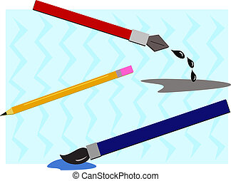 Group of Drawing Tools - Here is a pencil, paintbrush, and...