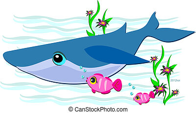 Blue Whale with Friendly Pink Fish - This cruising Blue...