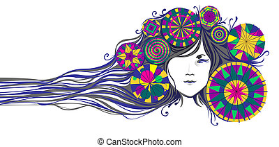 beautiful young Asian girl with long decorative hair on a...