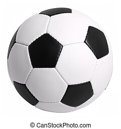 Soccer Ball Isolated on White Background - Traditional Black...