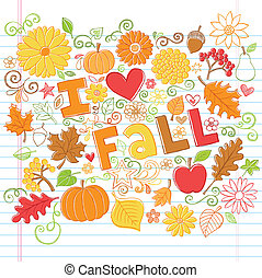 Fall Autumn Sketchy Doodles Vector - I Love Fall Back to...