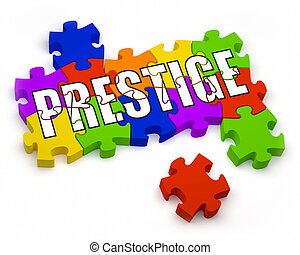 Prestige - 3D jigsaw pieces with text Part of a series