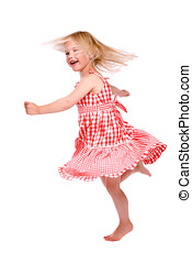Dancing girl - Cute little blond four year old dancing on...