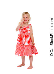 Cheeky little girl - Cute little four year old girl pointing...