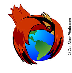 Saving Mother Earth - The Cardinal bird holds Mother Earth...