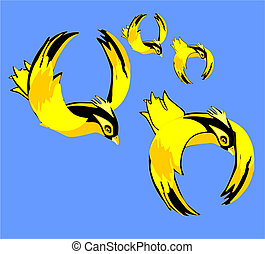 Yellow and black birds flying in th - Four yellow and black...
