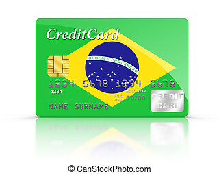 Credit Card covered with Brazil flag.