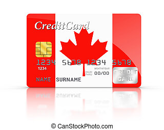 Credit Card with Canada flag.