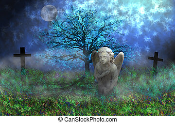 Stone angel with wings sitting on the mossy grass in fantasy...