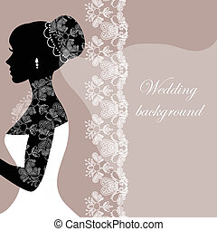 Beautiful bride with lace on a gray background
