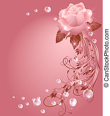 Rose, star and bubbles - Glowing background with rose, stars...