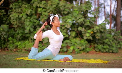 Yoga meditation exercise in nature