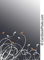 Butterfly - leaves and butterfly backgroun on orange, white...