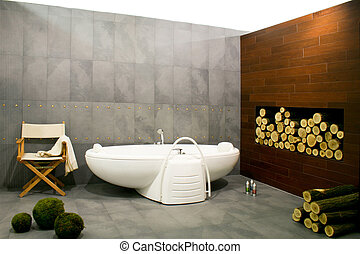 Bathroom with log - Big bathroom in cottage with wood log