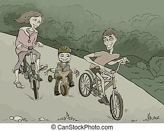 family on the bikes in the forest
