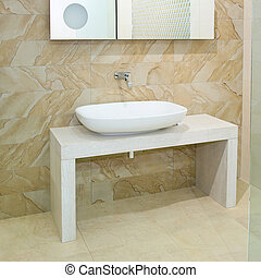 Wide basin - Wide oval basin and marble ceramics with mirror...