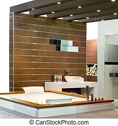 Wooden bath - Contemporary bathroom with wooden walls and...