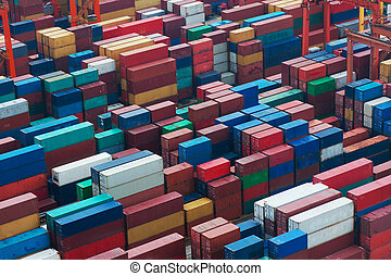 Transportation background - Lots of cargo freight containers...