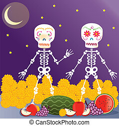 Day of the Dead in the nigth - A vector illustration in EPS...