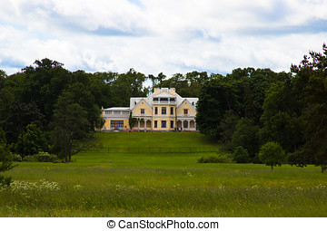 Country palace of the last century - ancient palace in park...