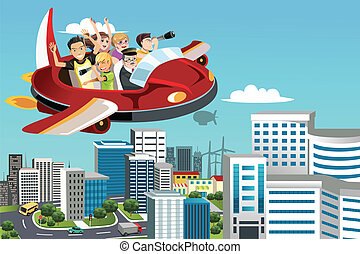 Traveling people - A vector illustration of a group of...