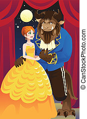Beauty and the beast - A vector illustration of beauty and...