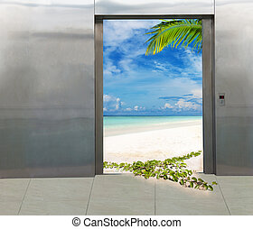escape from office to vacation - magical elevator from...