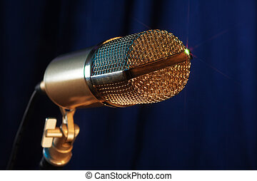 golden  microphone close up