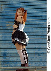 Lonely Harlequin - Fashion shoot of a model dressed up as...
