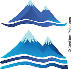 Mountains logos - Two blue mountains icons logos with rivers...
