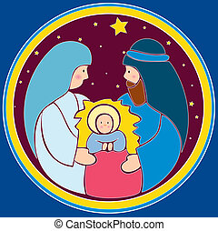 Baby Jesus in a manger - A vector illustration in EPS file