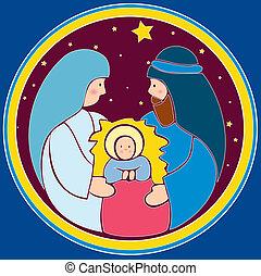 bebê, Jesus, manjedoura