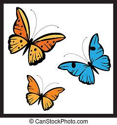 butterflies in diferent colors - A vector illustration in...