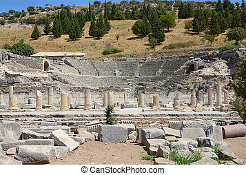 Ephesus odeon - Ruins of ancient odeon (small theatre) in...