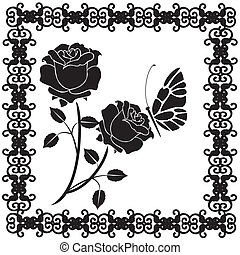 black butterflies with roses