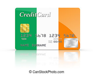 Credit Card covered with Ireland flag.