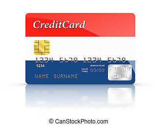Credit Card covered with Netherland flag - 3D rendered...