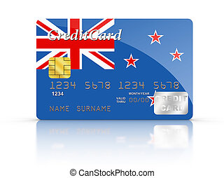 Credit Card covered with New Zealand flag - 3D rendered...