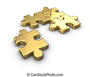 Gold Puzzle - 3D rendered Gold jigsaw puzzle
