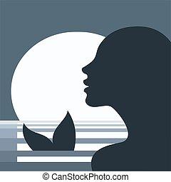 Mermaid head profile in the moonlight
