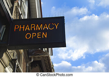 Pharmacy open - Sign above chemists with room for your text...