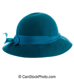 Blue vintage hat isolated on white background.