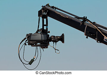 Camera on Crane - Broadcast camera on the crane against blue...
