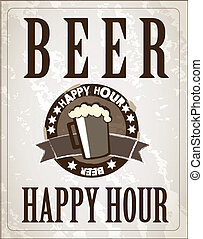 Poster Beer - poster happy hour with one beer vector...