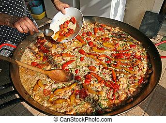 Sartén, pez, grande, agregar, rojo, cocinero, usted, arroz,...