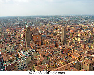 Aerial view over the city of Bologna in the emilia romagna...