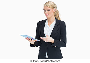 Businesswoman with her tablet