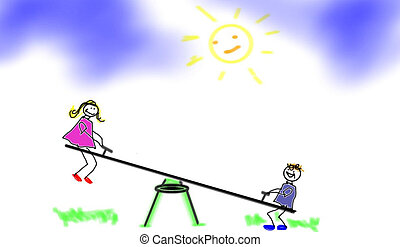 chilren playing on teeter totter - a boy and girl playing...